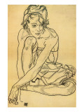 Woman Crouching, 1918 Premium Giclee Print by Egon Schiele