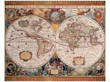 Antique Map, Geographica, Ca. 1630 Premium Giclee Print by Henricus Hondius
