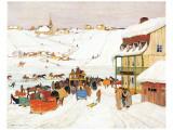 Horse Race in Winter Premium Giclee-trykk av Clarence Alphonse Gagnon