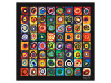 Vierkanten met concentrische cirkels Premium giclée print van Wassily Kandinsky