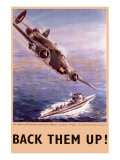 Back Them Up! Capture of a Submarine by a Lockheed Hudson Lámina giclée de primera calidad