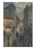 City Corner Giclee-tryk i høj kvalitet af Hans Baluschek