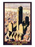 Rockefeller Center, New York Giclee-tryk i høj kvalitet af Leslie Ragan