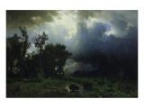 Bison Trail: Approaching Storm Premium Giclee Print by Albert Bierstadt