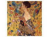 Lady with a Fan Lmina gicle de primera calidad por Gustav Klimt