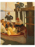 At Queen's Ferry, Kidnapped Premium Giclee Print by Newell Convers Wyeth