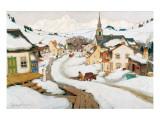 Village in the Laurentians Giclée-Premiumdruck von Clarence Alphonse Gagnon