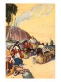 Morgan Dividing The Treasure Taken At Maraciabo Giclee-tryk i høj kvalitet af George Alfred Williams