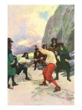 Theirs Was A Spirited Encounter Upon The Beach of Teviot Bay Premium Giclee Print by Howard Pyle