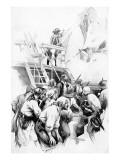 The Great Merchantman Was Captured Giclee-tryk i høj kvalitet af George Varian