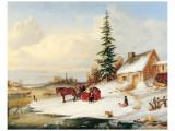 Habitants by a Frozen River Wydruk giclee premium autor Cornelius Krieghoff
