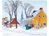Winter Morning in Baie-St-Paul Premium giclée print van Clarence Alphonse Gagnon