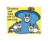 Dropping Kids Off Pool Print by Todd Goldman