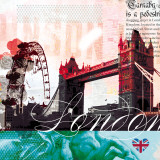 London Stamps Poster by  Meringue