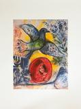 Amants et Oiseaux Poster par Marc Chagall