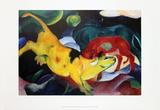 Cows, Yellow-Red-Green Affiches par Franz Marc
