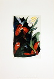 Four Foxes Postcard of Wassily Kandinsky Prints by Franz Marc