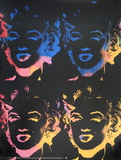 Marilyns x 4 Multicolor Plakater af Andy Warhol