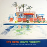 Eight Sunchairs by a Pool Collectable Print by David Hockney