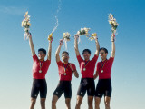 Mens Cycling Team on the Podium with their Gold Medals Photographic Print