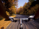 Detail of Cyclist View while Riding on the Roads Photographic Print