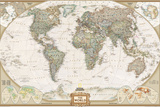 Carta politica del mondo, stile esecutivo Stampe di Geographic, National