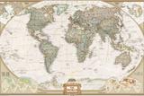 Politisk världskarta, exklusiv stil, engelska Affischer av  National Geographic Maps