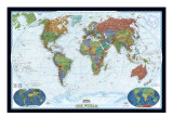 世界政治地図, デコレーター・スタイル 高品質プリント : 地図(ナショナル・ジオグラフィック)