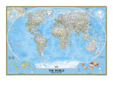 Politisk världskarta, engelska Poster av  National Geographic Maps