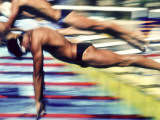 Male Swimmers at the Start of a Race Photographie
