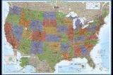 Carte politique des Etats-Unis, style décoratif Affiche