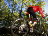 Blurred Action of Recreational Mountain Biker Riding on the Trails Photographic Print
