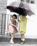 Children - Under Umbrella Poster