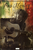 Bob Marley - Guitar Sitting Prints