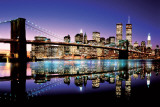 Brooklyn Bridge le soir en couleurs Posters