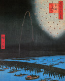 Hiroshige - Fireworks At Ryogoku Prints by Ando Hiroshige