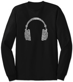 Long Sleeve: Headphones out of Different Music Genre's T-Shirt