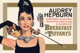 Audrey Hepburnová - Snídaně u Tiffanyho (Breakfast at Tiffany's), zlatý filmový plakát Obrazy