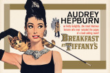 Audrey Hepburn - Aamiainen Tiffanylla, kullanvärinen yksiarkkinen Posters