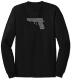 Long Sleeve: Gun created out of 2nd Amendment Shirts