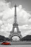 Paříž - červené auto Plakát