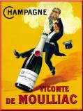 Champagne Vicomte De Moulliac Plaque en métal