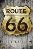 Route 66 - Golden Sign Posters