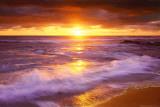 Západ slunce, útesy, pláž, San Diego, Kalifornie Plakát
