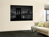 Glittering Night View of the Brooklyn Bridge Spanning the Glassy Waters of the East River Wall Mural by Andreas Feininger