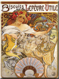 Biscuits Lefevre Utile Tin Sign by Mucha Alphonse