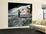 US Astronaut James B. Irwin Saluting American Flag Next to Lunar Module During Apollo 15 Mission Wall Mural – Large by Unknown Unknown