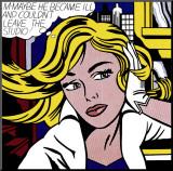 M-måske, på engelsk, ca.1965 Opspændt tryk af Roy Lichtenstein