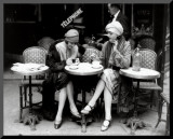 Women Sitting at a Cafe Terrace Mounted Print