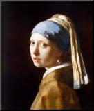 Jan Vermeer - Dívka s perlovou náušnicí Reprodukce aplikovaná na dřevěnou desku